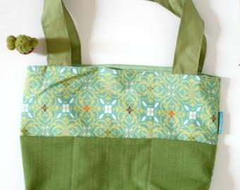large tote bag, beach bag, diaper bag, picnic bag, green, yellow, eco-friendly,reclaimed fabrics,carry all bag