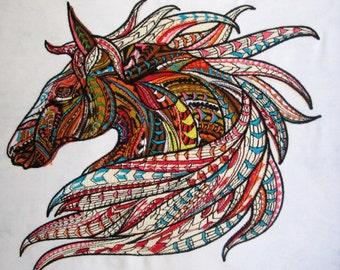 Mystic Warrior Fantasy Horse Large Embroidered Quilt Fabric Block