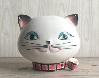 Vintage String Holder Cozy Cat Ceramic Holt Howard 1958 Japan