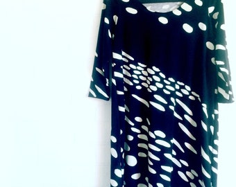 Womens Spot Dress made with Marimekko Fabric,  Tunic Dress Black White Spots Dots, Marimekko Kottarainen Fabric