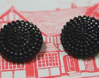 Black Glass Buttons 2 Black Bead Lustre Buttons