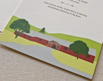 The Old Lantern Inn & Barn Wedding Invitation, Digital printed SAMPLE