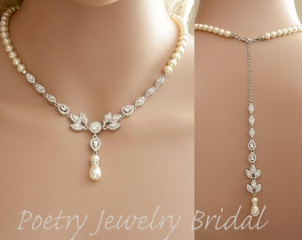 Bridal Backdrop Necklace Cubic Zirconia and Pearl Necklace Wedding Crystal Back Drop Necklace Bridal Back Necklace, Amity