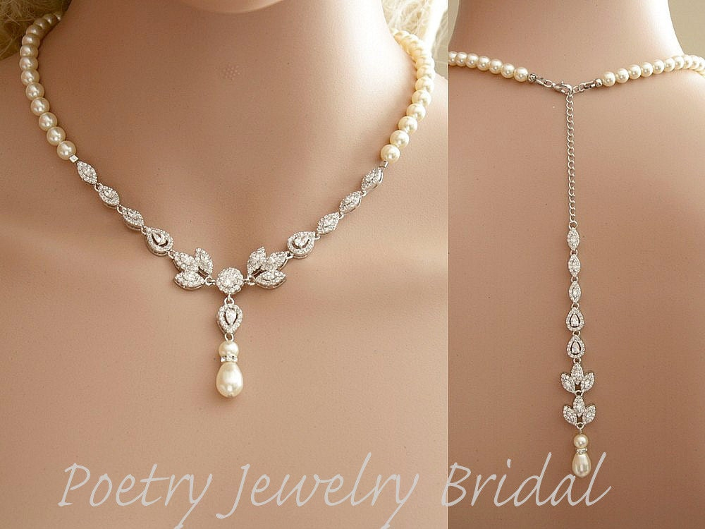 Bridal Backdrop Necklace Cubic Zirconia And Pearl Necklace