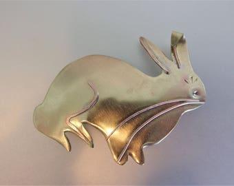 Vintage Brass Bunny Brooch Pin