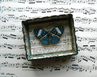 Butterfly Shadow Box, Matchbox Art, Whimsical Gift, Gifts for Girls, Assemblage Art, Small Art, Up cycled, Shadowbox Art, Matchbox Art