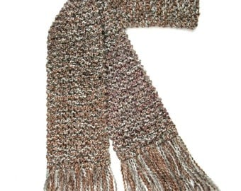 Brown Scarf, 6 ft Long Knit Scarf, Tan Gray Scarf, Chunky Knit Scarf, for Men or Women, Hand Knitted Scarf