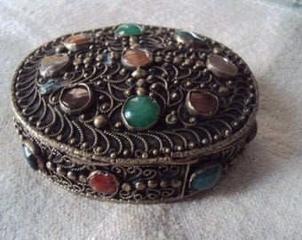 Large Vintage Made in India Afghan Kuchi Style Agate Cabochon Gemstone Ornate Filigree Trinket Pill Box