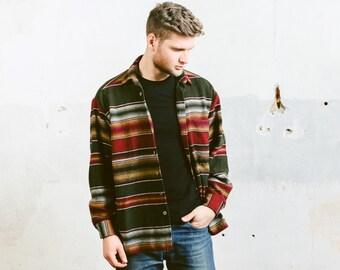 Vintage 80s Wool Southwestern Striped Shirt . Boyfriend Man Gift Oversized AZTEC Shirt Red Brown Shirt Jacket 1980s . size Medium Large