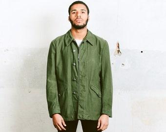 Mens Swedish PARKA Jacket . Vintage 60s Canvas Khaki Green Slim Coat MILITARY Camo 1960s Swedish Army Hunter Outerwear . size Large XL