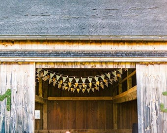 Fabric Bunting Banner Sale, Rustic Garland, Shabby Chic Garland, Autumn Wedding, Barn Wedding Decor, Mustard Bunting, Pennant Banner Flag
