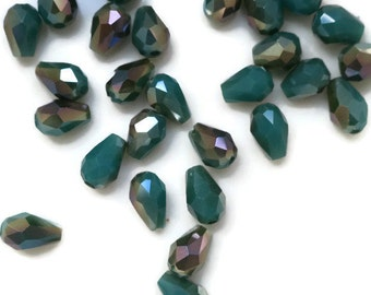 Aurora Jade AB Glass Beads Faceted Teardrop loose Spacer Green 5x3 Tiny fire polished (898D)