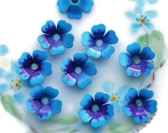 Vintage Enamel Flower Beads,Forget Me Nots beads,vintage flower Cabochons,Enamel beads,blue beads,Blue Spacer beads,Metal Jackets,NOS #1558