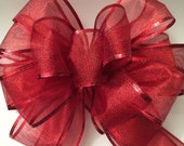 Tree Topper Bow Red Cheer Christmas Big Wreath Wall Decor Mantel Christmas New Year Mantel Decor
