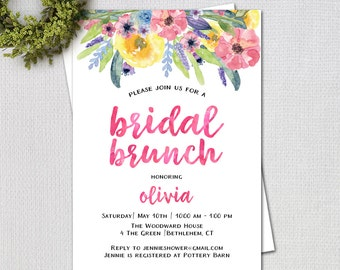 Watercolor Flowers Bridal Shower Brunch Invitation, Calligraphy, Printable Digital Invitation, 7208