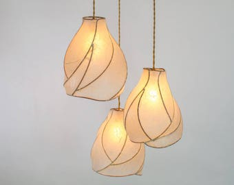 Chandelier Lighting - Sculptural Paper Lanterns - Copper and Cream Handmade Paper - Cascade Chandelier - Statement Lighting