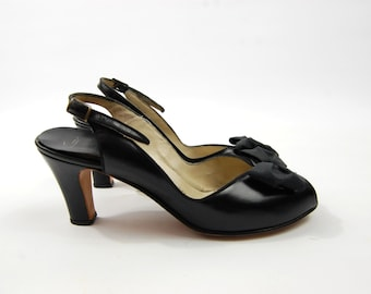 1950s Black Leather Peep Toe Pumps - Size 8AA sling back // Low Heel Chunky Heel D'Antonio O'Connor and Goldberg // 3 Inch Heel