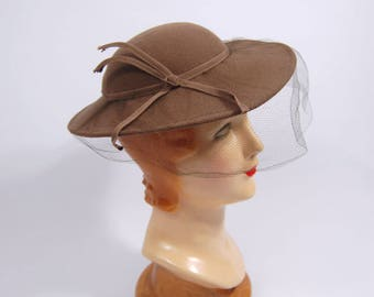 1940s Taupe Brown Felt Hat - Wide Brimmed Ladies Fedora style Hat - grey-brown - Light Brown Doeskin Felt made in USA