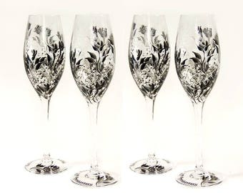 25th Anniversary CRYSTAL Champagne Flutes, Hand Painted, Set of 4 - Silver and Black Roses - Wedding Gift Ideas