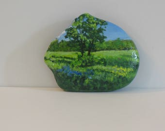 Hand painted rocks, Tree and Meadow, flowers, spring landscape, nature
