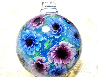 Pink & Blue Double Poppy Anemone Flower with Butterfly Satake Glass Lampwork Flower Pendant sra