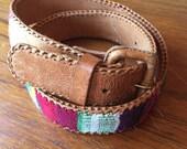 SPRING 15% OFF SALE vintage. Embroidered Guatamelan Brown Leather Belt //