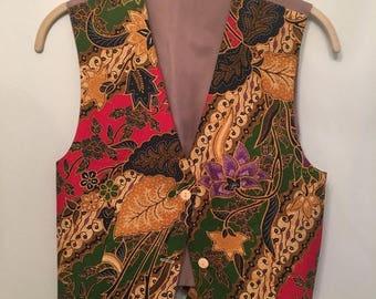 SALE Vintage Batik Cotton Vest • Colorful Vest • 1970s Vest Vintage Top • Free Size