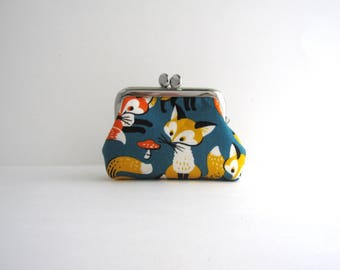 Coin Purse - Frame Mini Pouch Mini Jewelry Case with Ring Pillow - Fox on Teal