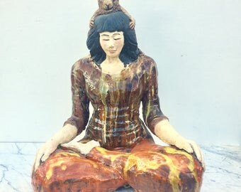 Ceramic Figure Sculpture, Monkey Mind, Sitting Woman in Meditation, Half Lotus Posture, Yoga Art