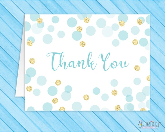 Blue And Gold Thank You Card Folded Note Card Boy Baby Shower