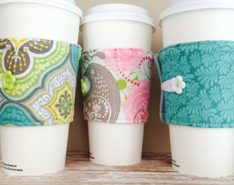 Coffee Cup Cozy, Coffee Cup Sleeve, Cup Cozy, Cup Sleeve, Reusable Coffee Sleeve - Aqua Yellow Floral [28-30]