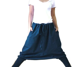 Dark Teal Green Cotton Jersey Funky Drop Crotch Harem Ninja Yoga Unisex Pants Trousers With Adjustable Drawstring Waist