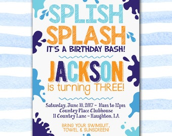 Pool Party Birthday Invite, Boy Party, Swim Party, Splish Splash It's A Birthday Bash, Kid Birthday, Water Party, Digital File Printable 5x7
