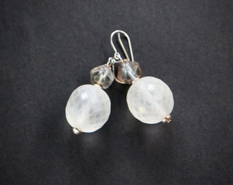 Czech Glass Snowball Earrings Large Winter Frost Globes with Silvery AB Glass Accents on Stainless Steel Hooks Jewelry