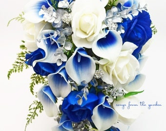 Cascade Bridal Bouquet Silver Blue White - Picasso Callas Real Touch White Royal Blue Roses, Rhinestones - Customize for your Colors