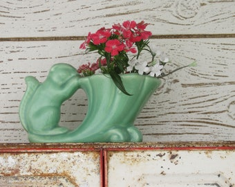 Vintage Art Pottery Planter - quirky animal - squirrel vase - soft mint green