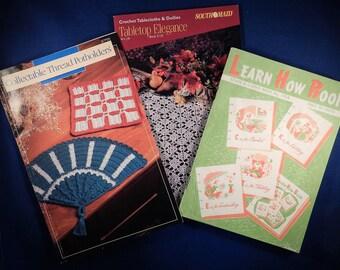 Set of 3 Vintage Tatting, Crochet, Knit Pattern Books - Used