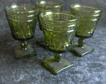 Vintage Easter decor goblets Princess Green Avocado Giftware by Indiana Glass Christmas Holiday tablesetting Wedding table farmhouse chic