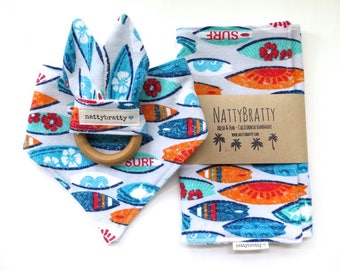 Surfboard Baby Bib - Bandana Bib - Burp Cloth - Teething Ring - Gift Set/Individual Sale - Surfer Style Beach Baby Gift - Baby Shower Gift