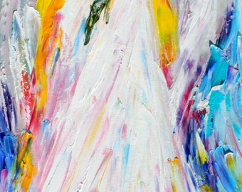 Angel and Flowers abstract painting original oil on canvas palette knife 12x36 impressionism fine art by Karen Tarlton