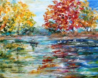 Original oil painting Autumn Fishing Morning Light palette knife impressionism on canvas fine art by Karen Tarlton