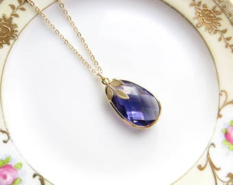 Amethyst Pear Necklace With Simple Leaf In Gold, Everyday Jewelry, Purple Teardrop Pendant, Long Necklace