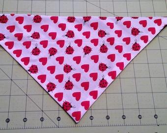Valentine Dog Bandana, February, neckerchief, valentines, heart, ladybug