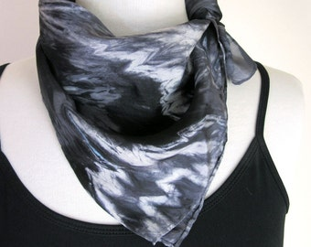 Black Square Silk Scarf - Hand Painted Silk Bandana - Silver and Black - Dark and Stormy