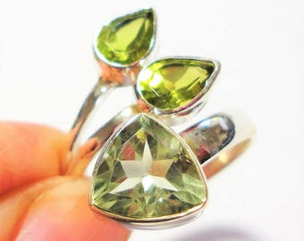 Green Amethyst and Peridot Bypass Ring Green Amethyst Faceted Trillion Gemstone with Peridot Pears in an Adjustable Sterling Ring Sz 8 to 9