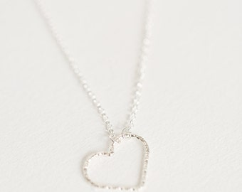 Heart necklace,Sweetheart Necklace,Silver necklace, Danity necklace, Girlfriend necklace, I Love you Necklace, Gift for wife