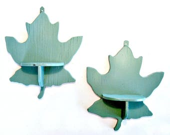 Green Maple Leaf Shelves, 2 Vintage Handmade Curio Shelves, Leaf Shaped Shelf, Jade Green Leaf Curio Shelves, Sage Green Leaf Shelves