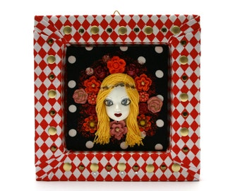 Pop Art, quircky, retro, Doll Frame, mixed media art, roses, flowers, home decor, wall, face, roses, one of a kind, 3D, Mucha style