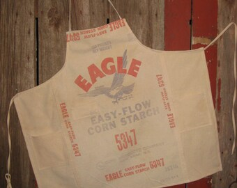 Grain Sack Apron Feedsack Corn Starch Bag Eagle Brand Large Apron Garden Workshop Farmhouse Kitchen Gift Man Or Woman