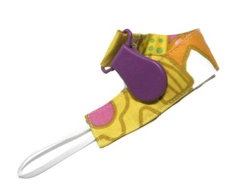 Purple & Yellow Pacifier Clip. Fabric with Purple Plastic Clip. Girl Paci/Teether Holder Clip. Universal Binky Clip Accessory